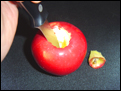 Making an apple pipe.