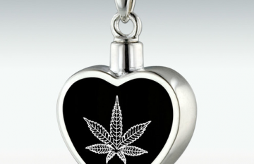 Marijuana Inlay Heart Sterling Silver Memorial Jewelry